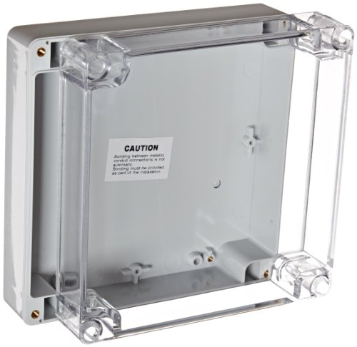 "BUD Industries PN-1338-C Polycarbonate NEMA 4x Box with Clear Cover, 6-19/64"" Length x 6-19/64"" Width x 2-23/64"" Height, Light Gray Finish"