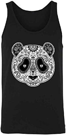 Sugar Skull Panda Mens Tank Top Cross Day Of Dead Dia De Los Muertos Shirts
