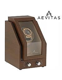 Brand New Watch Winder for 1 Watch Natural Walnut Wood Finish with Beige Velvet interior Premier Range by Aevitas