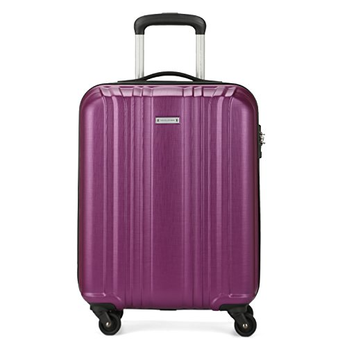 Spinner Ladies (DAVIDJONES Carryon TSA Luggage with 4 Spinner Wheel for Woman 20 Inch Travel Suitcase - PURPLE)