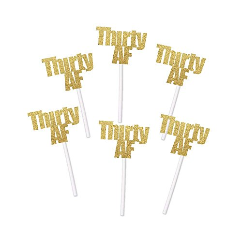 Thirty AF Cupcake Toppers in Gold Glitter (20 count) - 30th 30 Anniversary Retirement Party Decorations