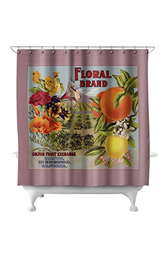 Floral Brand - Colton, California - Citrus Crate Label (71x74 Polyester Shower (Pottery Barn Floral Shower Curtain)