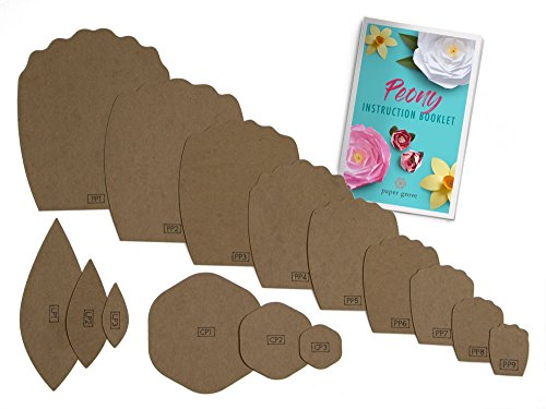 "Paper Flower Template, 2""-18"" Peony, Leaf Templates and Instruction Book Included! DIY Wedding, Shower, Photography Backdrop (Peony)"