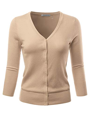 EIMIN Women's 3/4 Sleeve V-Neck Button Down Stretch Knit Cardigan Sweater Taupe 2XL