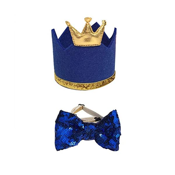 Stock Show Pet Cute Birthday Party Crown Hat and Blingbling Bow tie Collar Set with Adjustable Elastic Headband and Golden Crown Topper for Small Medium Dogs Cats Kitten Puppy, Blue