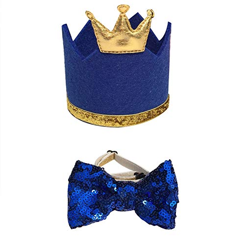 Stock Show Pet Cute Birthday Party Crown Hat and Blingbling Bow tie Collar Set with Adjustable Elastic Headband and Golden Crown Topper for Small Medium Dogs Cats Kitten Puppy, Blue ()