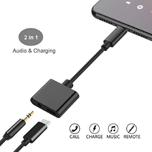 new concept 29d58 e4e6b Headphone Adapter for iPhone 8/8 Plus 3.5mm Adapter Splitter Jack Aux Audio  Charger for iPhone/Xs/Xs Max/XR/7/7 Plus Earphone Adaptor Charger Cables &  ...