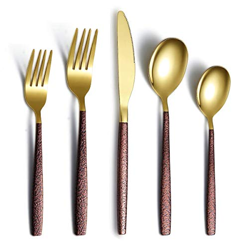 Berglander Silverware Set 20 Pieces With Moon Surface Handle And Shiny Gold Head Titanium Plating, Stainless Steel…