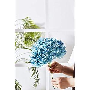 Kislohum Artificial Hydrangea Flowers Heads 10 Teal Hydrangea Silk Flowers Head for Wedding Centerpieces Bouquets DIY Floral Decor Home Decoration with Long Stems 2