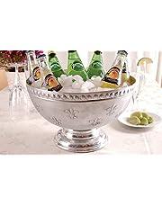 KINDWER Fleur-De-Lis Aluminum Punch Bowl, Silver