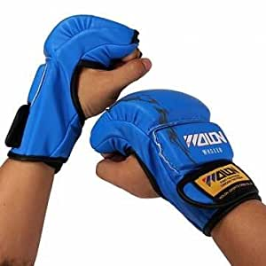 1 pair - MMA Sparring Grappling Boxing Fight Punch Leather Mitts Gloves (Color:Blue)