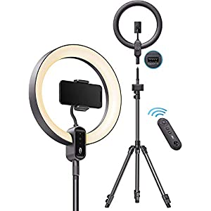 "TaoTronics Ring Light CL025, 12"" Ring Light with 78"" Tripod Stand, Dimmable LED Light Outer 24W 6500K, USB Charging…"