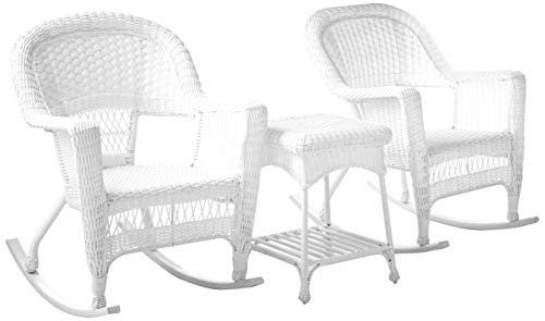 Jeco 3 Piece Rocker Wicker Chair Set, White (Resin Chairs Wicker)