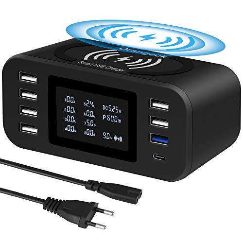 Orangeck Estación de Carga USB Cargador con 8 Puertos(Una QC3.0 y Un Type-C), 10W Rápido Cargador Inalambrico, Charging…