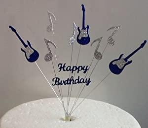 Blue Silver Guitar Music Note Happy Birthday Cake Topper