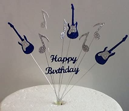 Blue Silver Guitar Music Note Happy Birthday Cake Topper Amazoncouk Kitchen Home