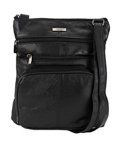 Cross Pocket Body Lorenz souple en noir multi Bag peau Bag de en cuir réel en Unisexe cuir mouton Messenger qwAnO4q6