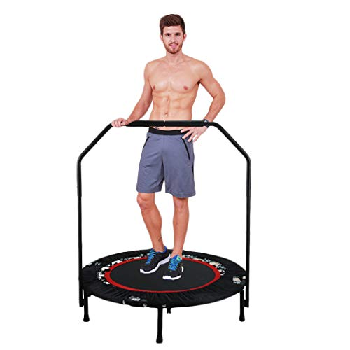 Cheap ANCHEER Foldable Rebounder Trampoline with Adjustable Handle, Exercise Fitness Cardio Workout Training for Adults or Kids (Max. Load 300lbs, Zero Stretch Jump Mat) (Red)