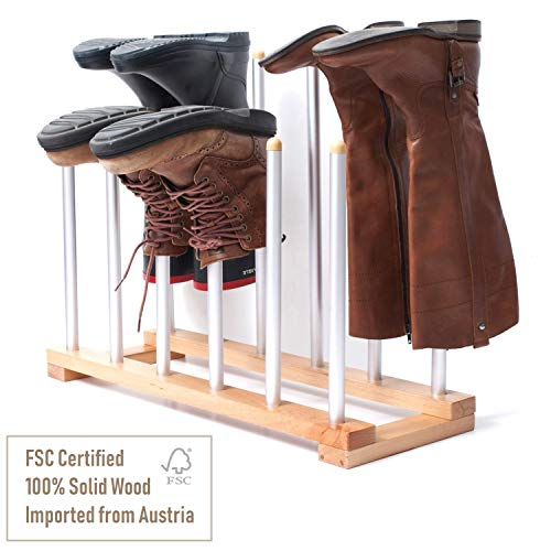 INNOKA 6 Pairs Boot Rack Organizer, Standing Wooden & Aluminum Storage Holder Hanger for Riding Boots, Rain Boots, Shoes - Easy to Assemble, Space-Saving, Keep Boots in Shape, Home Essentials (Best Place To Get Cowboy Boots)