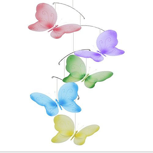 Cot Butterfly - Butterfly Mobile Swirls Nylon Mesh Butterflies Mobiles Decorations Decorate Baby Nursery Bedroom Girls Room Ceiling Decor Birthday Party Baby Shower Crib Mobile Baby Mobile Hanging Mobile 3D Art