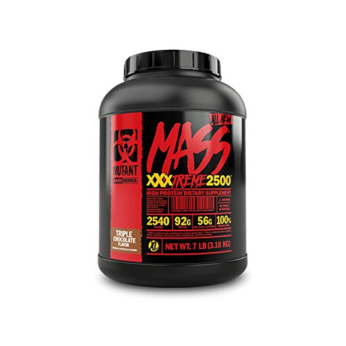 Mutant Mass XXXtreme Gainer - Whey Protein Powder - Build Muscle Size and Strength - High Density Clean Calories - 7 lbs - Triple Chocolate