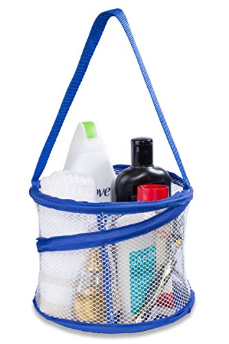 Bathroom Personal Organizer - 8 X 6 - Three Large Compartments to Organize Your Bathroom Accessories. The Shower Caddy Features a Drainage Hole and Carry Handle for Easy Transport. (Blue)