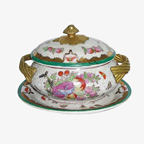Better & Best Soperita P Fruits Round Ceramic Server, with Bronze Handles, with Lid and Plate, Decorated with Fruit Motifs, Measures 16 x 12 x 12 -