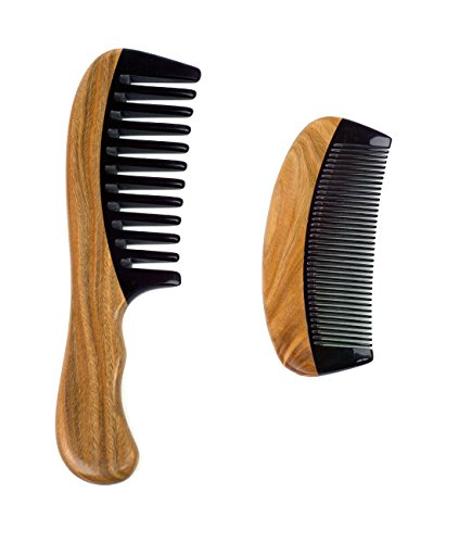 Price comparison product image Natural Sandalwood Ox Horn Hair Combs Set for Women & Men - 1 Wide Tooth Comb with Handle and 1 Travel Pocket Narrow Tooth Hair / Beard Wooden Comb, Design for Curly, Straight, Fine, Thin, Thick Hair