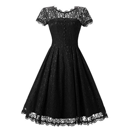 Vestido de de Negro de Vestido largos bodas Vestidos Dama Vintage Amlaiworld vestidos honor encaje manga corta Mujer para floral noche coctel Señoras mujer de fiesta Swing largos T6ZxFZnwqY