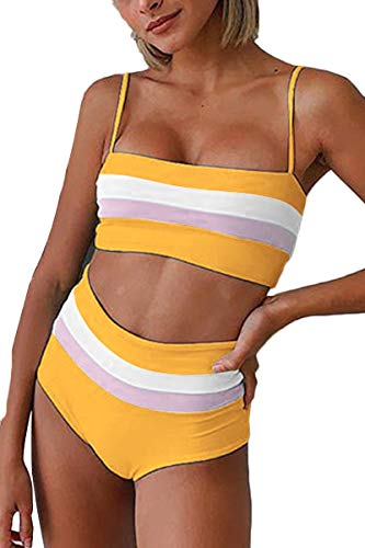 FAFOFA Women's Two Piece Swimsuit Color Block Stripe Straps Wrap Bikini Set High Waist Bottom Yellow M