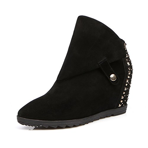 Allhqfashion Women's Suede Frosted High-Heels Boots with Metal Decoration and Wedge Black uq212K