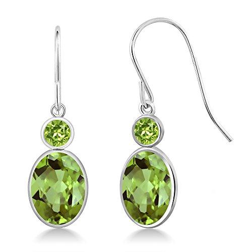 Gem Stone King 2.90 Ct Oval Green Peridot 14K White Gold Earrings