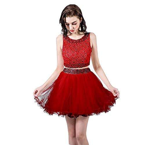 omecoming Dresses Short Beaded Tulle Formal Prom Gowns 010 Red US8 ()