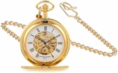 Charles-Hubert, Paris 3556 Gold-Plated Mechanical Pocket Watch