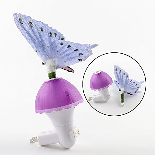 HARULU Fiber Optic Butterfly LED Color Change Night Light Lamp for Children's Baby Room, Bedside, corridor, indoor, as Wall Plug In Guide Light to Find Ways in Darkness(purple)