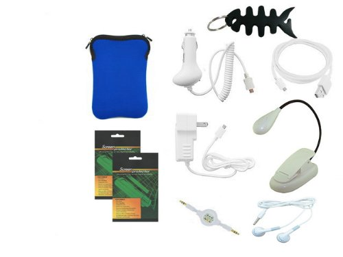 iShoppingdeals - 10 in 1 Bundle for Amazon Kindle 3 (WiFi + 3G) (Latest Generation) Includes: Blue Sleeve Bag Case, Car Charger, Travel AC Charger, USB Data Cable, 3.5mm Audio Cable, Headset, LED Book Light, Screen Protector, and Fishbone Keychain by iShoppingdeals