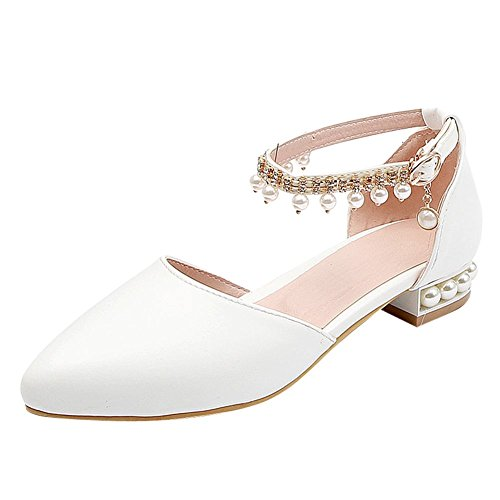 MissSaSa Damen Schnalle Künstliche Perlen Pumps Weiß(PU)