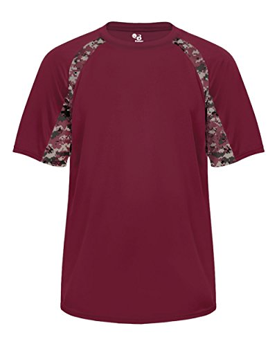 Badger Baseball Jersey - Maroon Digi-Camo Adult 2XL Short Sleeve Digi-Camo Side/Sleeve Panel Performance Sports Wicking Jersey/Shirt