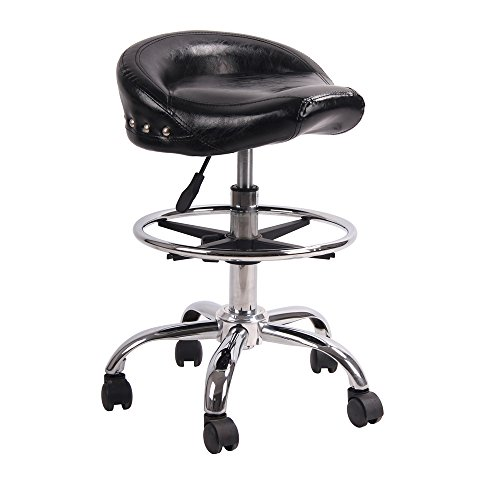 Adjustable Rolling Swivel Stool Hydraulic Saddle Medical Chair with Steel Chrome Frame for Salon Tattoo Spa Massage (Shiny Black) by Hydraulic Massage and Salon Stool