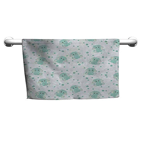 duommhome Elephant Nursery Quick Dry Towel Young Aged Elephants in Spring Meadow Daisies Child Baby Theme W31 x L63 Pale Blue Baby Blue (Countertop Hudson)
