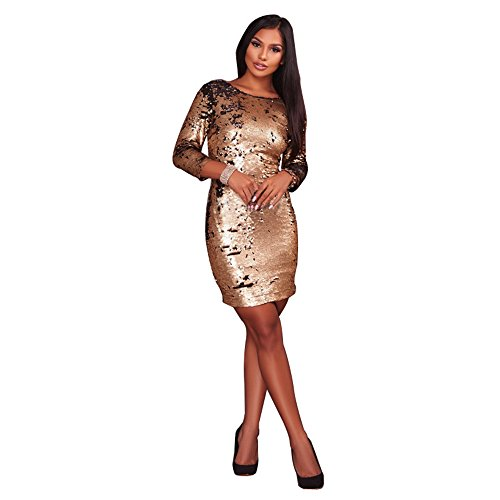 Sequined Border - Womens Autumn Cross Border Sequined Skirt Short Mermaid Evening Dress Cocktail Prom Dresses Party Gowns (Gold, XL)