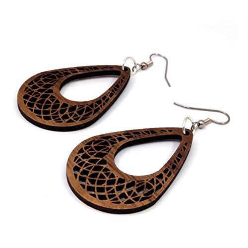 Dream Catcher Teardrop Earrings made of Sustainable Walnut Wood - Small - Wooden Hook Dangle Drop Earrings