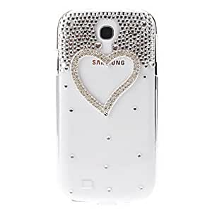 Bkjhkjy Pearl Love Heart Pattern Transparent Hard Back Cover Case with Glue for Samsung Galaxy S4 I9500