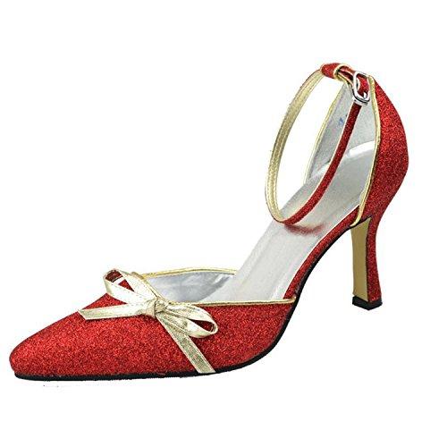 Kevin Fashion Mz1195 Dames Knoop Glitter Bruids Formele Feestavond Avond Prom Pumps Schoenen Rood