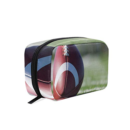 Makeup Bags Football Players Cosmetic Bag Square Organizer Pouch Portable Pencil Storage Case for Women ()
