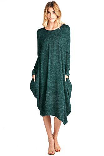 12 Ami Asymmetrical Heathered Sweater Knit Midi Dress Dark Green XXL ()