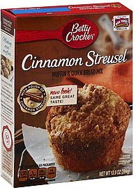 Betty Crocker Premium Muffin & Quick Bread Mix, Cinnamon Streusel, 13.9-Ounce Boxes (Pack of 4)