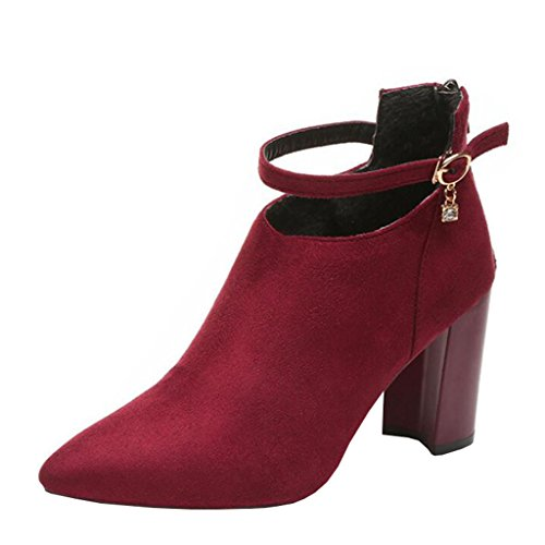 Binying Women's British Style Buckle Ankle-Strap Pointed-Toe Block Heel Zip Metal Ankle Boots Burgundy 39Uhzjr