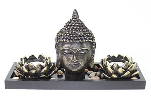 Tabletop Buddha Head Lotus Tea Light Candle Holder Home Decor Relaxing Gift Zen Garden Series from We pay your sales tax