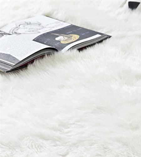 Genuine Sheepskin Rug Ivory White Sexto Pelt Natural Fur – Sheepskin Rug Pad for Bedroom Living Room Sexto 6ft x 6ft, Ivory White